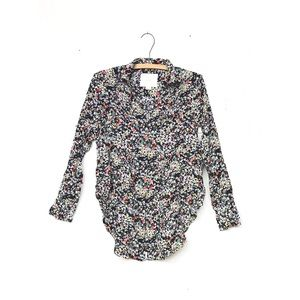 Maeve Anthropologie Floral Pintucked Blouse